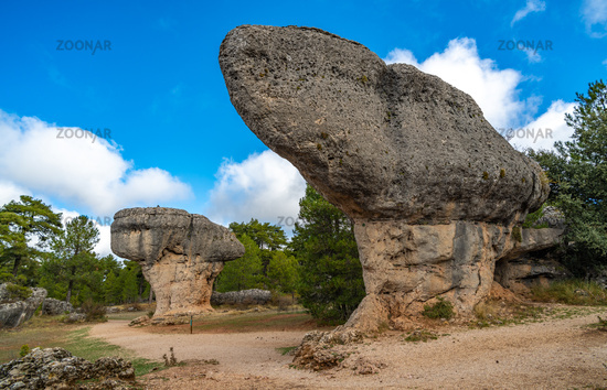 Unique rock formations in La Ciudad Encantada or Enchanted City natural park near Cuenca, Castilla la Mancha, Spain