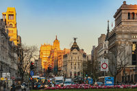 Madrid, Spain - April 12, 2019: Madrid Spain city skyline at famous Gran Via shopping street