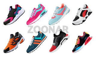 Fitness sneakers shoes for training running shoe. Sport shoes set