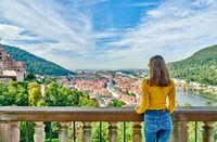 Tourist in Heidelberg town on Neckar river in, Germany