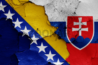 flags of Bosnia and Herzegovina and Slovakia painted on cracked wall