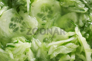 Cucumber salad top view detail