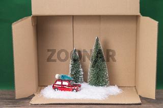 Modell Landschaft im Winter in einem Karton