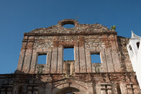 Old building facade in Casco Viejo in Panama City - historical architecture -