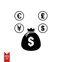 Vector icon of money bag with shadow dollar sign black color EPS 10 full of money bag coins of dollar pound euro uang