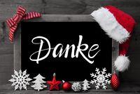 Chalkboard, Christmas Decoration, Ball, Tree, Danke Means Thank You