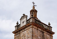 Detail of the clock on the towers of the Se or cathedral church in Viseu in Portugal