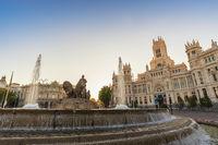 Madrid Spain, sunrise city skyline at Cibeles Fountain Town Square