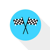Finish flags icon. Blue ellipse with shadow. Colored symbol. Flag icon. Symbol of competition. Flat design. EPS 10.