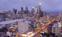 Northeast Side Aerial View Night Scene Downtown Philadelphia Pennsylvania