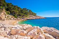 Makarska turquoise beach at sunny day view