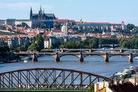The Hradcany castle over the river Vltava in Prague