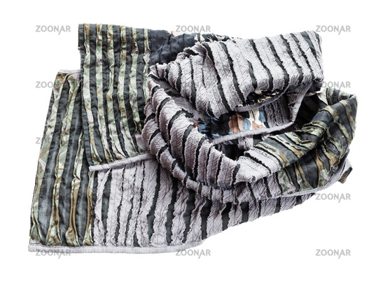 crumpled shawl from carved silk and cotton fabric