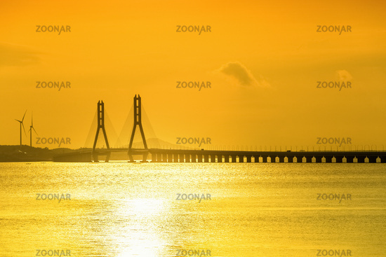 golden poyang lake and cable-stayed bridge