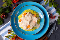 autumn curry rice with chicken breast with sauce
