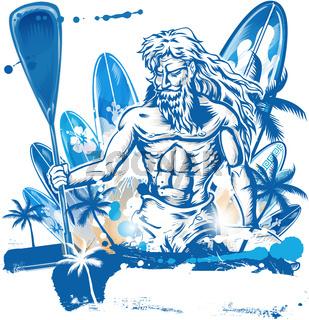 poseidon puddle surfer on surfboard hand draw