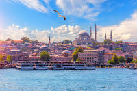 View on the Eminonu district and the Suleymaniye Mosque from the Bosphorus, Istanbul, Turkey