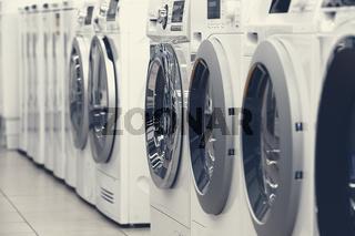 washing mashines in appliance store