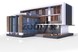 3d contemporary modern house