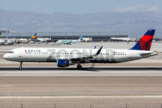 Delta Air Lines Airbus A321 airplane Las Vegas airport