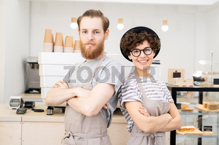 Hipster couple of baristas