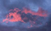 Pink cloud. Heavenly morning scene in Sweden.