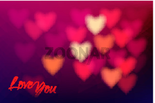 Heart shape bokeh light background. Love you dark pink blurred background.