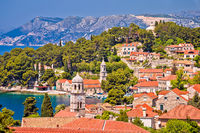 Town of Cavtat towers and waterfront view