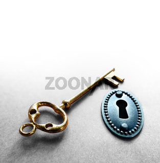 vintage lock and gold key