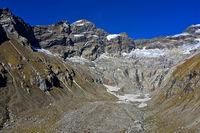 Im Jegital, Gipfel Breithorn und Jegigletscher, Lötschental, Wallis, Schweiz