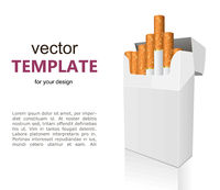 Open full pack of cigarettes isolated vector