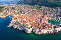 Town of Dubrovnik city walls UNESCO world heritage site aerial view