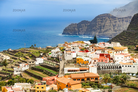 Der beliebte historische Ortskern von Agulo, La Gomera, Spanien