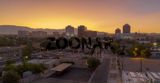 Orange Sunrise Aerial Perspective Downtown City Skyline Albuquerque New Mexico