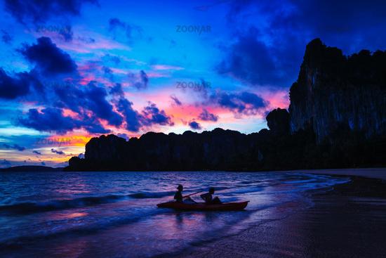 Railay beach on sunset, Krabi Province Thailand