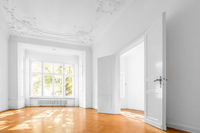 empty room in beautiful flat with wooden  floor - real estate interior