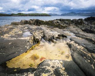 Coastline with rocks along ring of beara in ireland