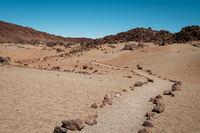walking path in desert landscape - walkway in rocky desert