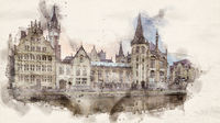 watercolor ghent buildings