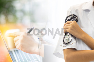 Double Exposure doctor hold stethoscope