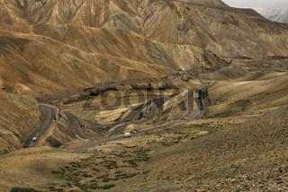 Winding road, part of the Leh-Manali Highway, Lamayuru, Ladakh, Jammu and Kashmir, India.
