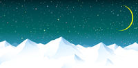 Snowy mountains against the background of the night starry sky.