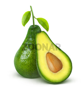 Avocado isolated on white background with clipping path
