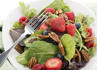 Spring Salad  With Berries And Peanuts,Close Up