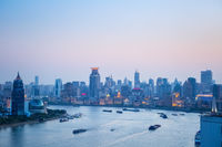 shanghai huangpu river and the bund in nightfall
