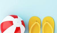 3d Flip flops and beach ball