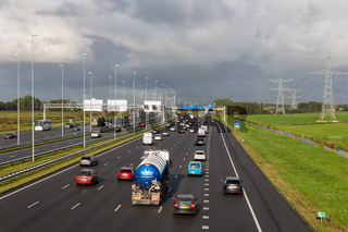 Dutch motorway A1 near Amsterdam with fourteen driving lanes