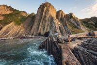 Coast landscape of famous Flysch in Zumaia, Basque country, Spain. Famous geological formations landmark.