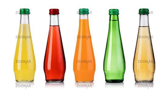 set of bottled fruit juice