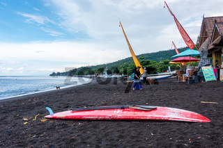 Red paddle board on Amed Beach in Bali